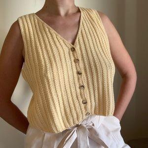 Yellow Crochet 100% Cotton Top Small